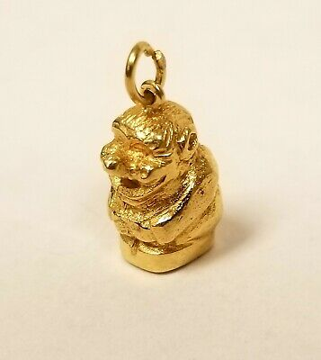 Vintage 14k Yellow Gold Smiling Troll Charm Pendant 585 Oe Norway 2.6 Dwt