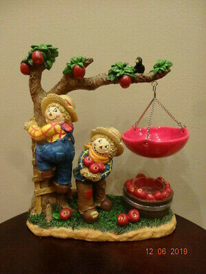 Vintage Yankee Candle Two Scarecrows And Apple Tree For Holiday.