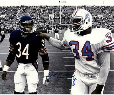 Earl Campbell Single Signed Walking With Walter Payton 16x20 Photo