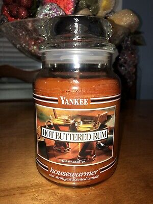 Yankee Candle 22oz Black Band Hot Buttered Rum Rare Hard To Find Scent And Jar