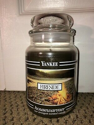 Yankee Candle 22oz Black Band Fireside Rare Hard To Find Scent And Jar