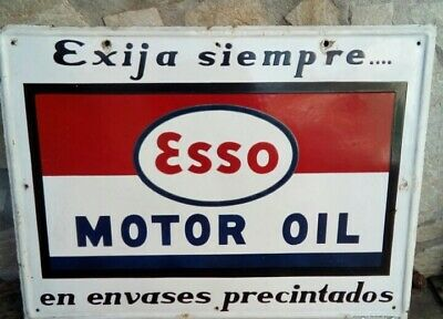 Esso Motor Oil Sign Porcelain 32x24inch Vintage Spanish Double Sided Very Rare