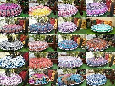 Christmas Gift 100 Assorted Large Mandala Floor Pillow Case Round -throw Cushion