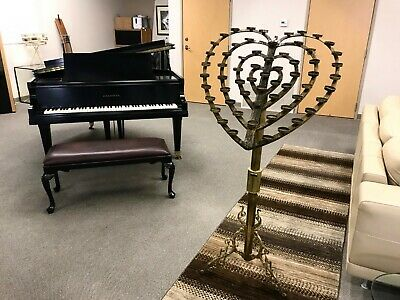 Antique Brass Large Heart Shaped Votive Candle Church Offering Stand Christian