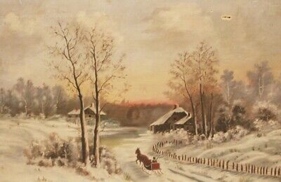 Early 1900s Victorian Antique Winter Sleigh Wonderland Painting