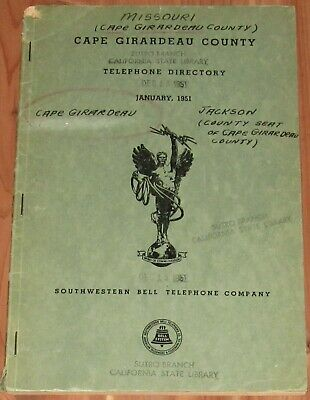 1951 Missouri Telephone Directory, Cape Girardeau County, Residential