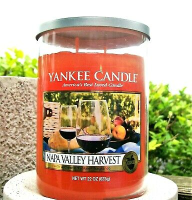 "Yankee Candle Retired ""napa Valley Harvest""~2-wick~large 22 Oz.~white Label~rare"