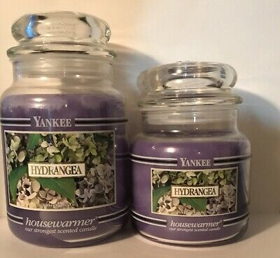 Two Yankee Candle Hydrangea 22 Oz And 14.5 Oz Black Band / Bar Candles Htf Lot