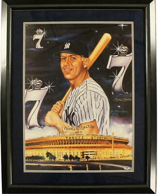 Mickey Mantle #7 Yankee Stadium Framed 32x26 Artwork By Robert Stephen Simon