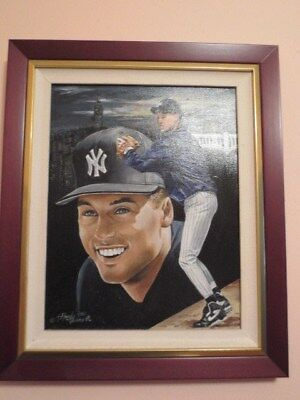 Derek Jeter  New York Yankee Original Oil On Canvas By Marino