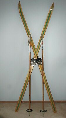 Vintage Troll Wood Cross Country Skis & Bamboo Poles Norway