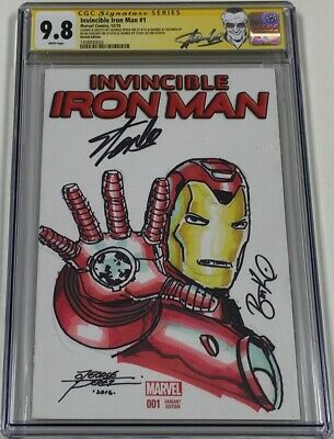 Invincible Iron Man #1 Signed By Stan Lee & Sketched By George Perez Cgc 9.8 Ss