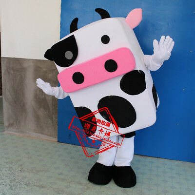 Cow Mascot Costume Adult Animal Halloween Cosplay Party Fancy Dress Fast Shippng