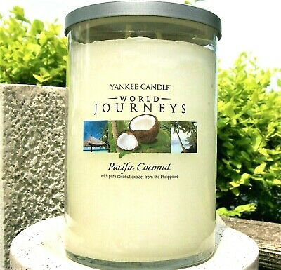 "Yankee Candle World Journeys ""pacific Coconut""large 22 Oz ~ 2-wick ~ White Label"