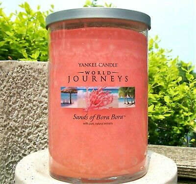 "Yankee Candle World Journeys ""sands Of Bora Bora"" Large 22oz~2-wick ~white Label"