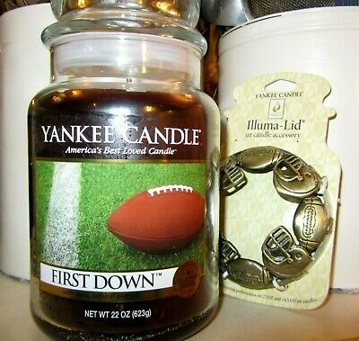 "Yankee Candle Retired ""first Down"" & Football Illuma Lid ~large 22 Oz ~rare~ New"