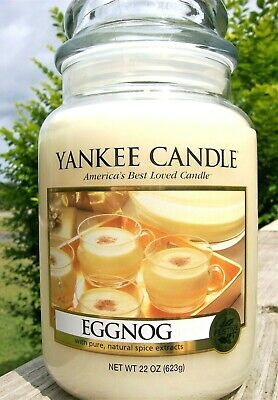 "Yankee Candle Retired ""eggnog""~ Large 22 Oz ~ White Label~ Rare ~ Vhtf ~ New"