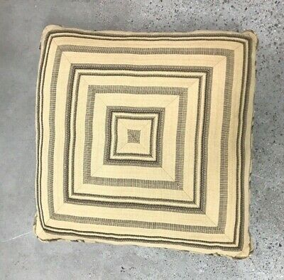 """Throw Pillow Ethnic Raffia Brown Accent  23""""x 23 75/25 Down Feather Fill H&g"""