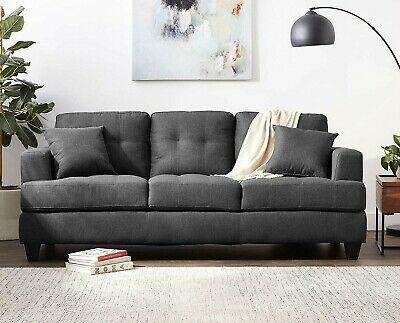 Tufted Charcoal Fabric Sofa With Throw Pillows Living Room Home Furniture Couch