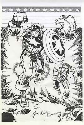 Original Artwork Captain America Jack Kirby Art Signed Avengers Marvel Comic Lot