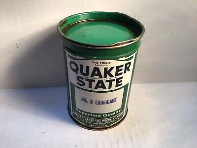 Vintage Quaker State Grease Lube Nos Can Metal Gas Rare Unopened Oil Quart Full
