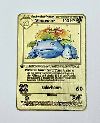 Venusaur 1st Edition Base Set Gold Metal Pokemon Card Custom Limited