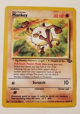 Pokemon Mankey 55/64 Jungle WOTC Wizards 1999 NM/Mint