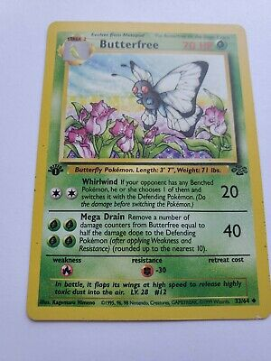 Vintage Pokemon Card, Butterfree 33/64, Jungle, First Edition, Played.