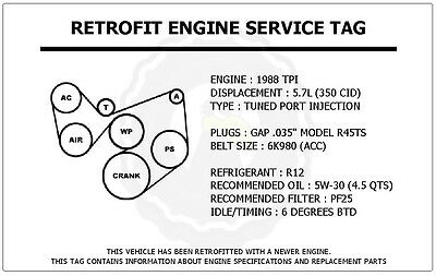 1988 Tpi 5.7l Camaro Z28 Retrofit Engine Service Tag Belt Routing Diagram Decal