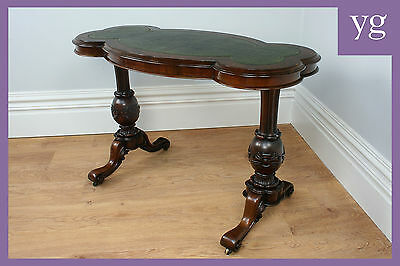 Antique Victorian Burr Walnut Leather Office Hall Side Writing Kidney Desk Table