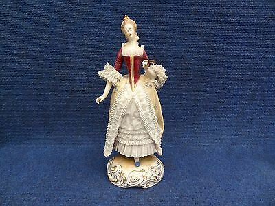 Porcelain Gallant Lady With Lace Dress Holding A Fan Vienna Shield Dresden