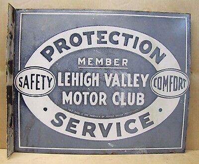 Old Porcelain Lehigh Valley Motor Club Adv Sign Double Sided Flange Auto Gas Oil
