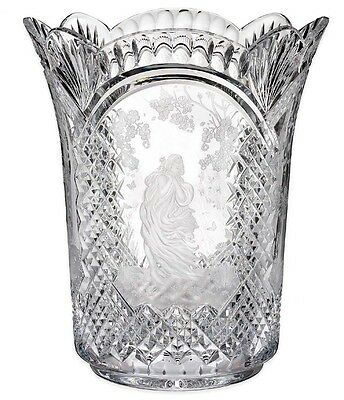 """House Of Waterford The Four Seasons Vase 4 Panel 11.5"""" Crystal Ireland 40004153"""