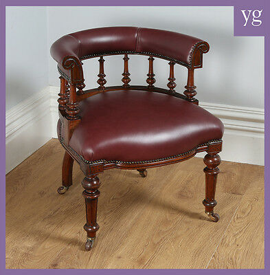 Antique Victorian Oak Burgundy Red Leather Office Desk Library Captains Armchair