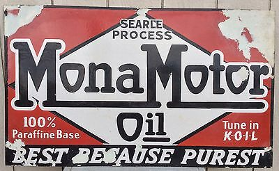 Antique Porcelain Mona Motor Oil Sign