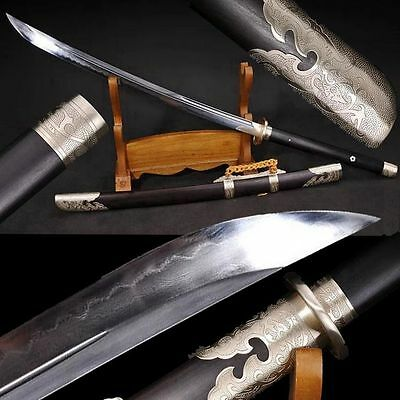 Top Quality Chinese Sword Broadsword Clay Tempered Folded Steel Sharp Blade #632