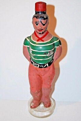 Vintage Figural Glass Bottle Hand Painted Crew Ship Pirate Cabin Mate Gondoliers