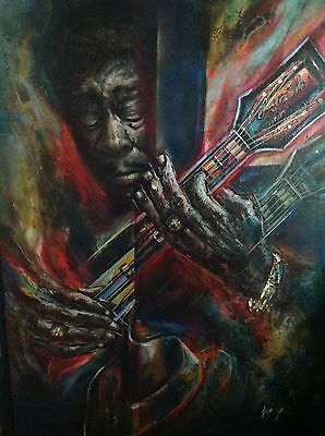 Bb King Blues Guitarist Icon & Lucille Original Painting From Miguel Najera