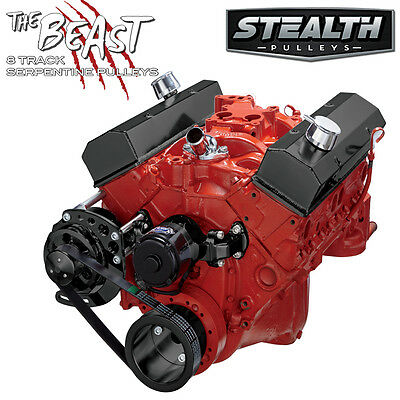 Black Small Block Chevy Serpentine Conversion Kit - Alternator Only, Electric Wp