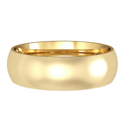 jewelco london 18ct yellow gold 6mm court satin brushed wedding band ring