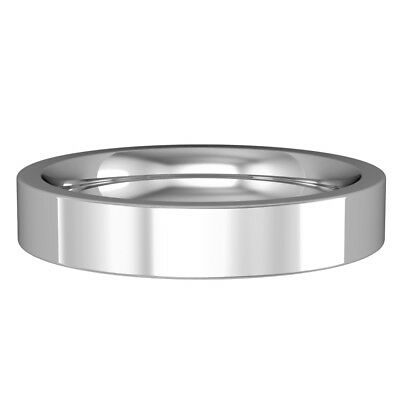 jewelco london 18ct white gold 4mm flat court wedding band commitment ring