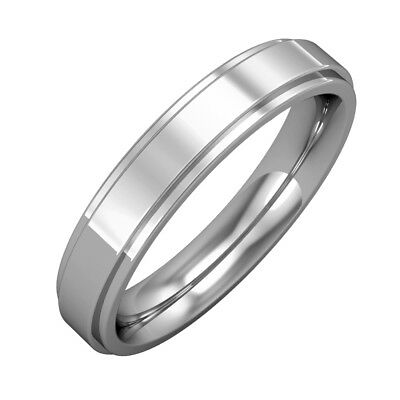 jewelco london 18ct white gold 4mm flat court step cut wedding band ring