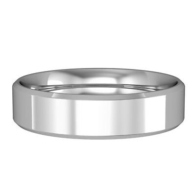 jewelco london 18ct white gold 5mm flat court bevelled wedding band ring