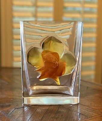 Lalique Amber Rose Vase Or Ice Bucket Rare Find - Excellent Condition Msrp $4050