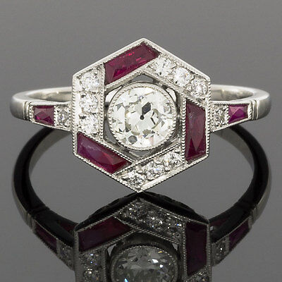 Platinum Old European Diamond Art Deco Vintage Hexagon Ruby Halo Engagement Ring