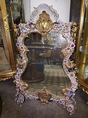 Special!!!! Italian Porcelain Capodimonte Mirror With Bronze Cupids Accents