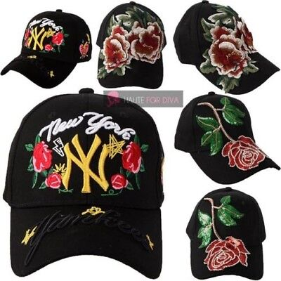 New Ladies Floral Rose Yankee New York Sequin Embroidered Caps