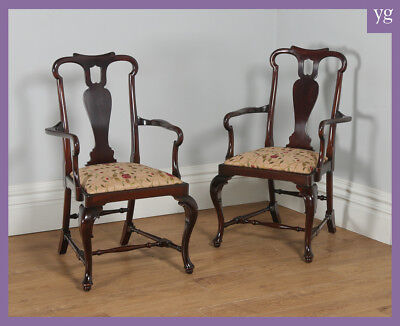 Antique English Pair Two 2 Queen Anne Style Mahogany Crook Hall Office Armchairs