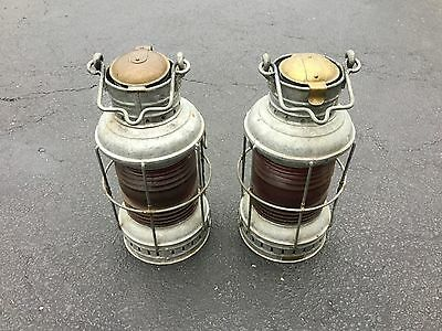 Lot Of 2 Perko Copper Nautical Marine Navigation Lamps Lights Red Glass Vintage