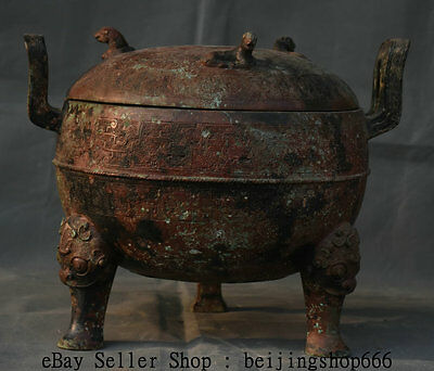 "13"" Old Chinese Han Dynasty Bronze Ware Beast 3 Lion Leg Tableware Food Vessels"